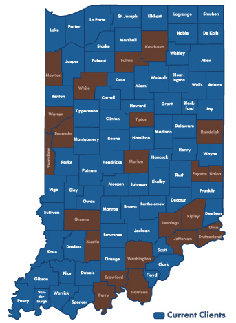 Indiana Counties on the Tax Warrant System
